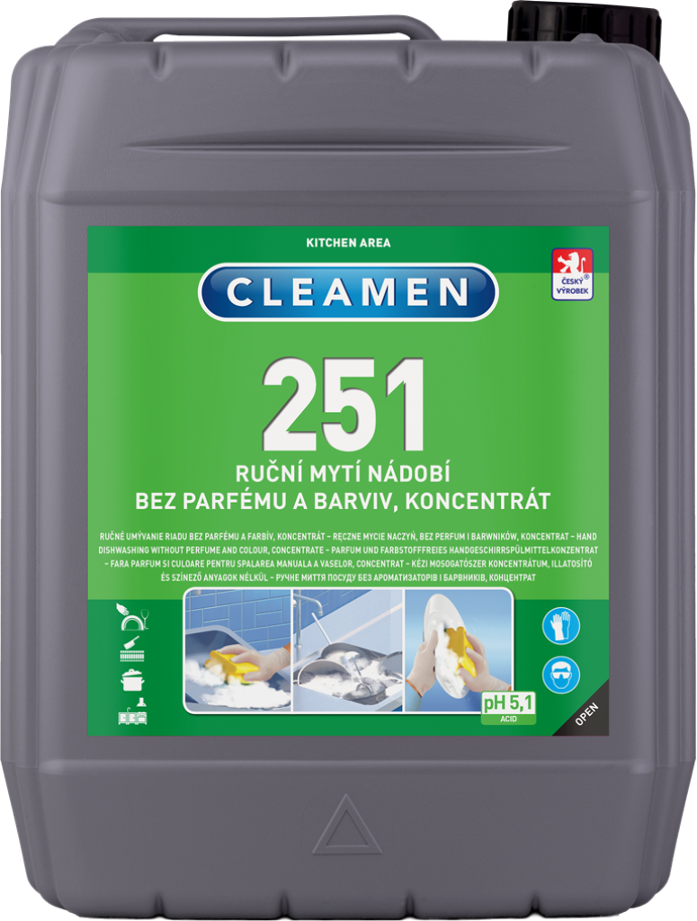 CLEAMEN 251 ruční mytí nádobí bez parfému a barviv – koncentrát 5 l